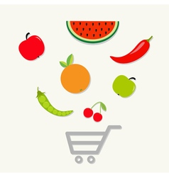 Fruits vegetables shopping cart center Flat vector image