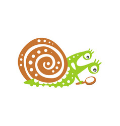 funny snail character looking through magnifying vector image