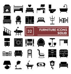 furniture glyph icon set interior symbols vector image