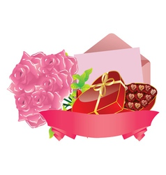Gift and roses2 vector