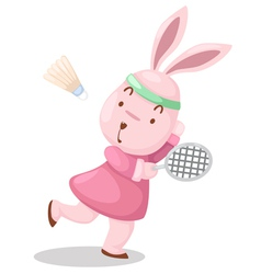 girl rabbit playing badminton vector image