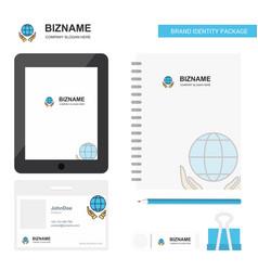 globe in hands business logo tab app diary pvc vector image