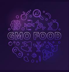 gmo food colored circular modern linear vector image