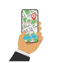 gps navigation on smartphone vector image