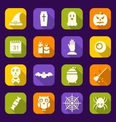 Halloween Flat Icons with Long Shadows vector