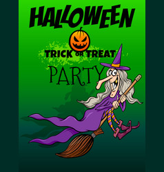 halloween holiday cartoon design with witch vector image
