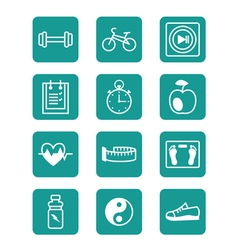 Icons set sports and fitness vector