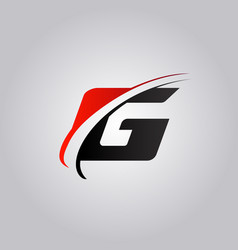 Initial g letter logo with swoosh colored red vector