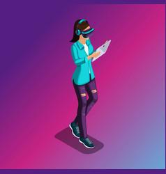 Isometric 3d teenager freelancer travelers vector