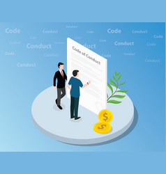 isometric code of conduct concept with business vector image