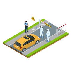 Isometric street city under quarantine vector