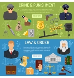 Law and order horizontal banners vector