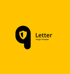 letter q shield logo icon design template elements vector image