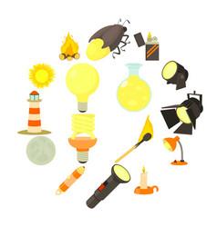 Light source icons set cartoon style vector