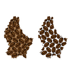 Luxembourg - map of coffee bean vector