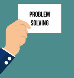 Man showing paper problem solving text vector