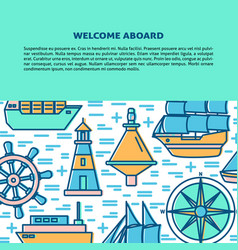 marine banner or poster template with ships and vector image