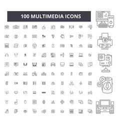 multimedia editable line icons 100 set vector image