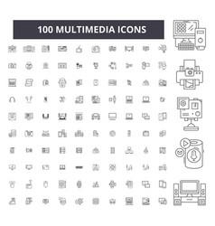 Multimedia editable line icons 100 set vector