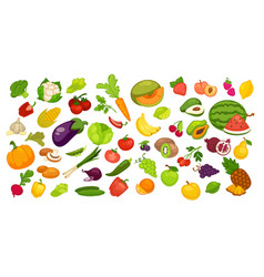 Natural organic fruit and vegetables set on white vector