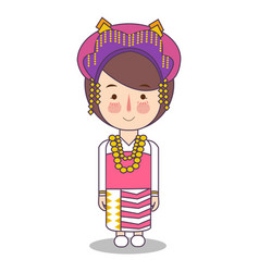 North sumatra province fashion cute girl vector