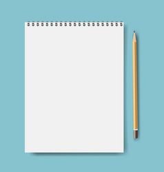 notebook mockup with pencil mint background vector image