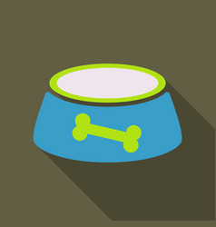 pet dog bowl flat icon with long shadow vector image