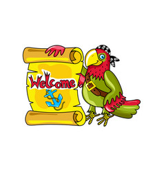 pirate parrot with signboard icon vector image vector image