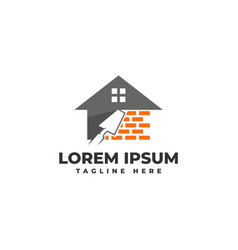 Plastering brick wall house with pock logo vector