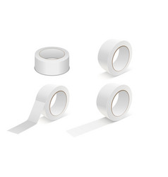 realistic white 3d matte tape roll icon set vector image