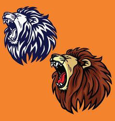 roaring lion set logo cartoon design templa vector image