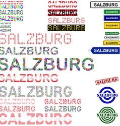 Salzburg text design set vector