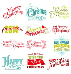 Set Christmas Calligraphic Design Elements vector