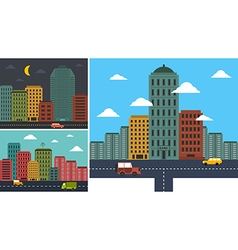 Set cityscapes in any background in flat style vector image