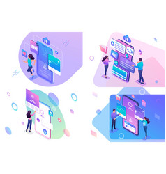 Set isometric concept mobile application testing vector