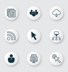 set of 9 world wide web icons includes save data vector image