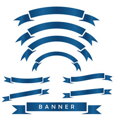 set of blue ribbon baner icon vector image