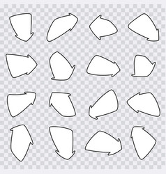 set of hand-drawn arrows on vector image