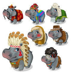 Set of seven hippos in different national costumes vector
