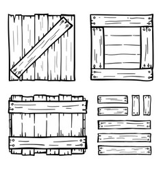 set of wooden box doodles vector image