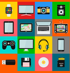 set technology and multimedia devices icons vector image
