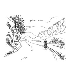 sketch long distance cyclist cycling on rural vector image