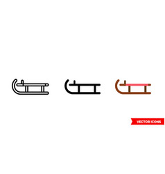 sleigh icon 3 types isolated sign vector image
