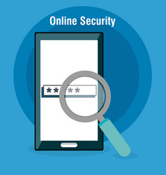 Smartphone with online security icons vector