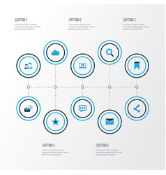 Social colorful icons set collection of social vector
