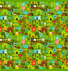 summer camping seamless pattern vector image