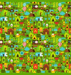 Summer camping seamless pattern vector