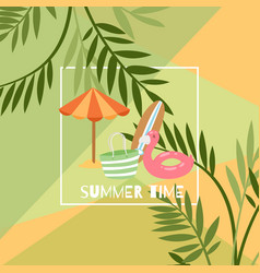 summer time exotic travel poster with umbrella vector image