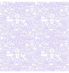 Thin line baby white seamless pattern vector