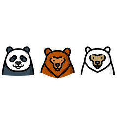 three different bear vector image